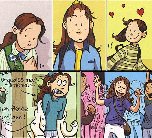 Smile by Raina Telgemeier Raina just wants to be a normal sixth grader. But one night after Girl Scouts she trips and falls, severely injuring her two front teeth. What follows is a long and frustrating journey with on-again, off-again braces, surgery, embarrassing headgear, and even a retainer with fake teeth attached. And on top of all that, there's still more to deal with: a major earthquake, boy confusion, and friends who turn out to be not so friendly.