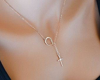 Check out Infinity Cross Necklace, Sterling Silver Sideways Infinity Cross Necklace, Infinity Lariat Necklace, Rose Gold Cross Necklace on malizbijoux