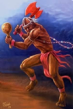 Shango (also known as Chango, Sango, or Xango)   King of the orisha pantheon, rules over thunder, fire, drumming, dancing and male virility. Shango is actually a deified king who was once the Fourth Alafin of the city-state of Oyó. He is one of the most worshipped orishas in the pantheon and his legends are numerous and speak to the human experience.