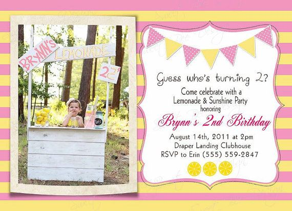 Lemonade Stand Photo Birthday Invitation by SweetBeeDesignShoppe