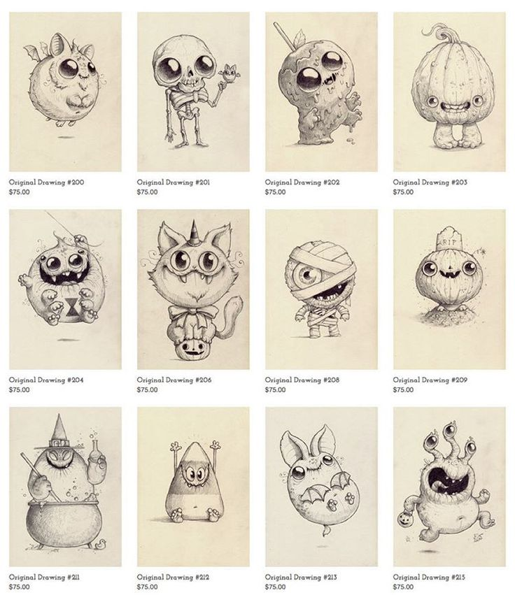 Some Halloween drawings just sneakily popped up at Bindlewood.com !  Hurry, they won't last! ✏️ #morningscribbles #halloween