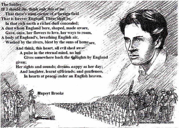 patriotic war sonnets of rupert brooke Prose & poetry - rupert brooke rupert brooke (1887-1915) was born into a well-to-do, academic family his father was a housemaster at rugby school, where rupert was educated before going on.