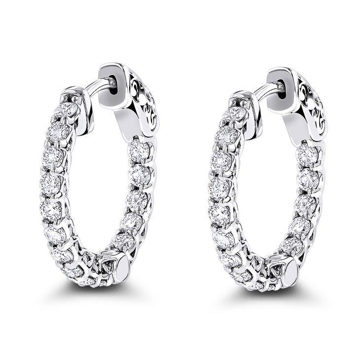 14K Gold Inside Out Diamond Hoop Earrings for Women 1.5ct