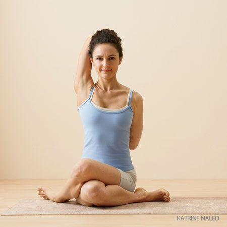 Learn Cow Face Pose pose (Gomukhasana). Follow step-by-step instructions for practicing each yoga pose by the editors of Yoga Journal.