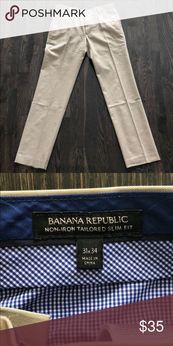 Men's Banana Republic Non Iron Tailored Slim Fit Khaki Dress Pant Banana Republic Pants Dress