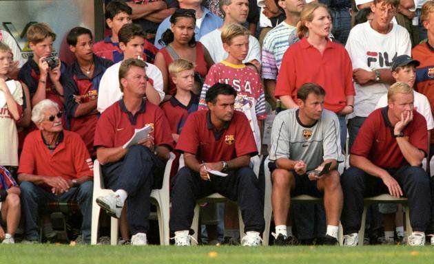 Barcelona's bench in 1999 featuring Louis van Gaal, Jose Mourinho and Ronald Koeman