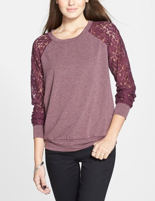 Yes, to this lace sleeve fleece top!
