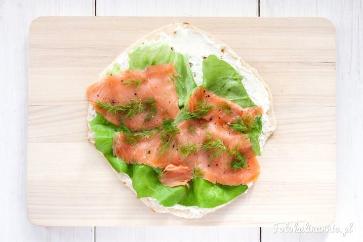 How to make mini wraps with smoked salmon, dill, lettuce and cream cheese.