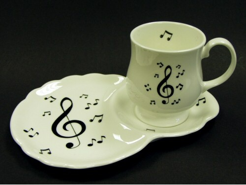 Treble Clef Design Mug And Biscuit Tray Music Jewelry