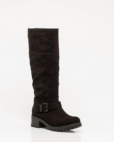 Leather-like  Block Heel Boot