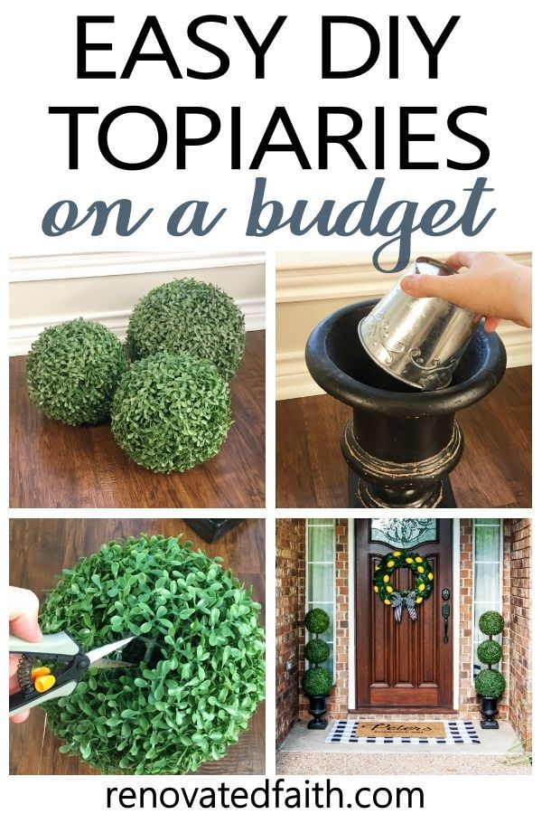 The Easiest Diy Topiary Trees On A Budget Topiary Decorating Ideas In 2020 Outdoor Topiary Topiary Trees Artificial Topiary
