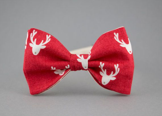 Christmas Bow Tie for Men Red Bow Tie Reindeer Bow by BartekDesign