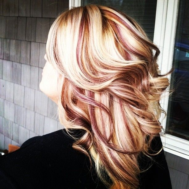 Platinum Blonde with burgundy lowlights | Via Theresa ...