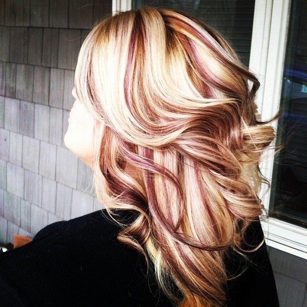 Platinum Blonde With Burgundy Lowlights Via Theresa