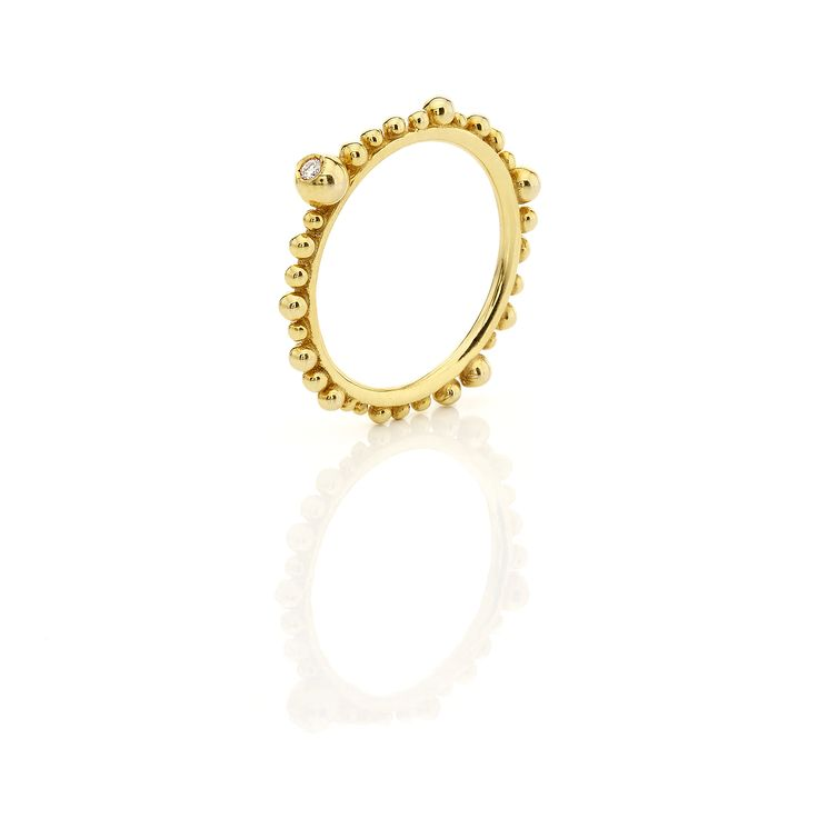 Yelklow gold ring with one brilliant #huffyjewels www.huffyjewels.com