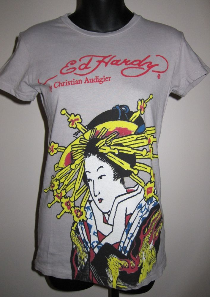 Womens Junior Size Small Don Ed Hardy Christian Audigier Geisha Design T Shirt #EdHardy #GraphicTee