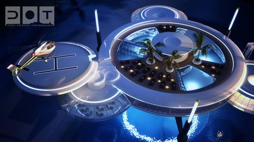 Surface of Underwater Hotel in DubaiSwimming Pools, Underwaterhotel, Underwater Hotels, Architecture, Hotels In Dubai, Water Discus, Hotels Dubai, Spa, Discus Hotels