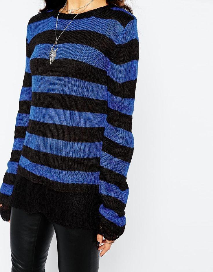 Tripp NYC Striped Reversible Knit Jumper