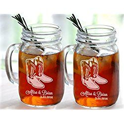 Set of 2 Cowboy Boot Wedding Personalized Mugs Mason Jar Glasses Wedding Party Country Western Barn Wedding Bridesmaid Gifts Groomsmen Gifts Favors