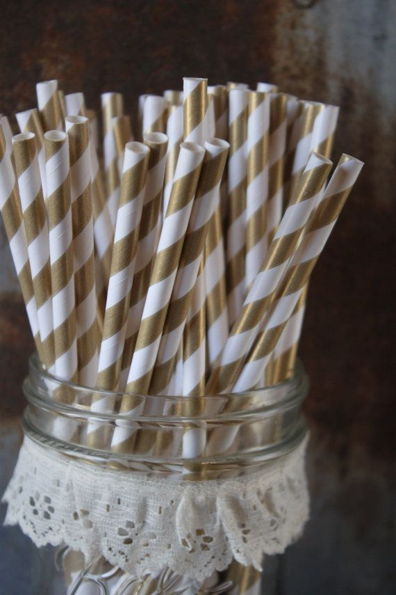 100 Gold Party Paper Straws  Stripes by SpiralSage on Etsy, $15.00