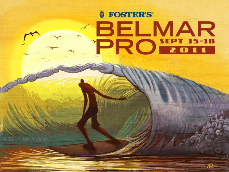 Belmar Pro Surfing Contest Poster by Jay Alders