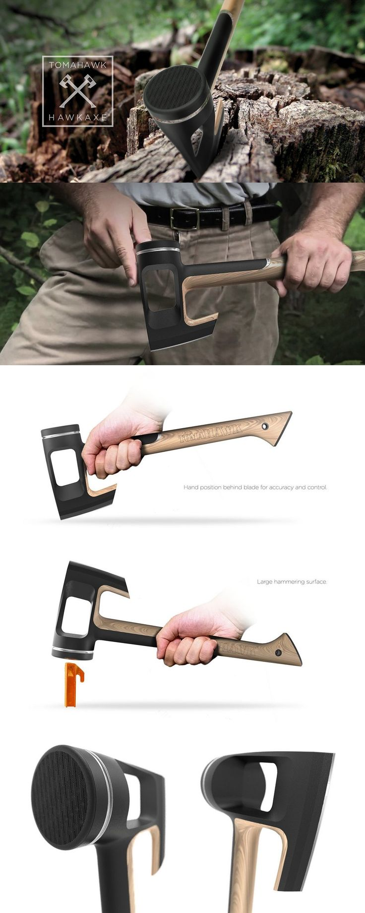 The Tomahawk Hawkaxe is designed to not just be efficient, but also promote the correct style of using the axe. Read More: http://www.yankodesign.com/2016/07/25/you-dont-need-to-be-an-axe-pert/