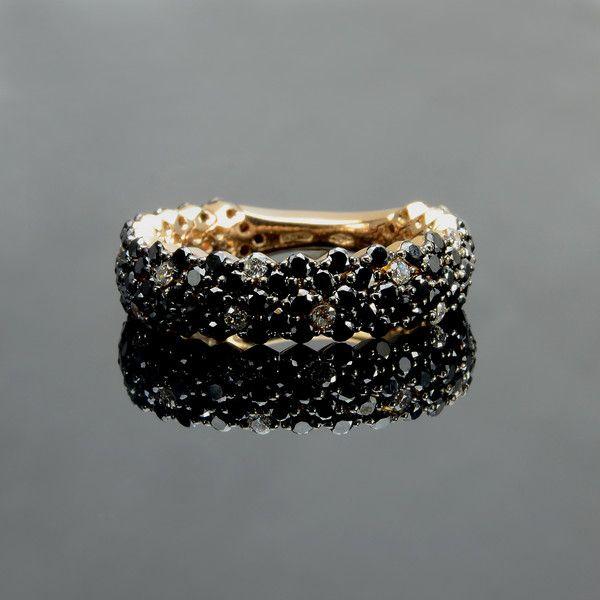 Anello in oro, anello con diamanti, diamanti neri di Carini Gioielli su DaWanda.com