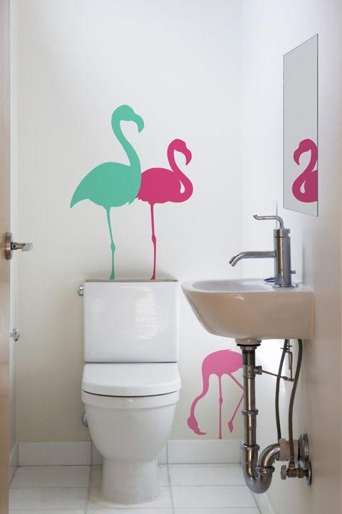 flamingo bathroom decalswhite bathroomsbathrooms decorsmall bathroombath decorpink - Pink Flamingo Bath Decor