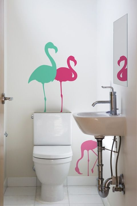 33 best images about palm springs flamingo bathroom on for Spring bathroom decor