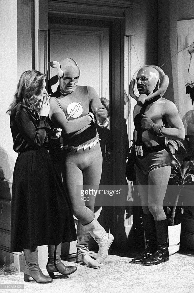 Jane Curtin as Lana, Dan Aykroyd as The Flash, and Garrett Morris as Antman during the 'Lois Lane' skit on March 17, 1979 --
