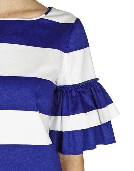 Summer Stripes – Blugirl Spring Summer 2016 • Striped Cotton Top With Ruffled Sleeves. • Rendered in striped cotton, this Blugirl top features a shift silhouette with ruffled sleeves.