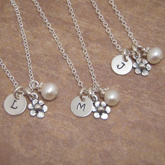 Tiny flower girl necklace - Itty Bitty  6mm initial necklace -ONE Tiny initial necklace - sterling silver necklace on Etsy, $26.00