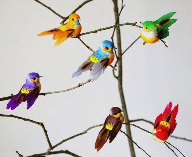 Oiseaux artificiels en plumes color es de belle qualit pour r aliser toutes - Faux oiseaux decoration ...