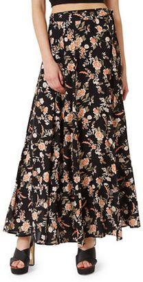 Miss Selfridge Floral-Print Wrap Maxi Skirt