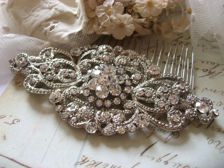 Wedding hair comb, Bridal hair comb, Barrette clip, Vintage brooch, Silver vintage style hair accessory by weddingvalle on Etsy https://www.etsy.com/listing/106736239/wedding-hair-comb-bridal-hair-comb