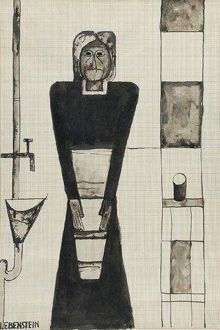 Jan LEBENSTEIN (1930-1999)  Posta, lata 60. XX w. tusz, papier milimetrowy, 40,1 x 27 cm (w świetle oprawy);