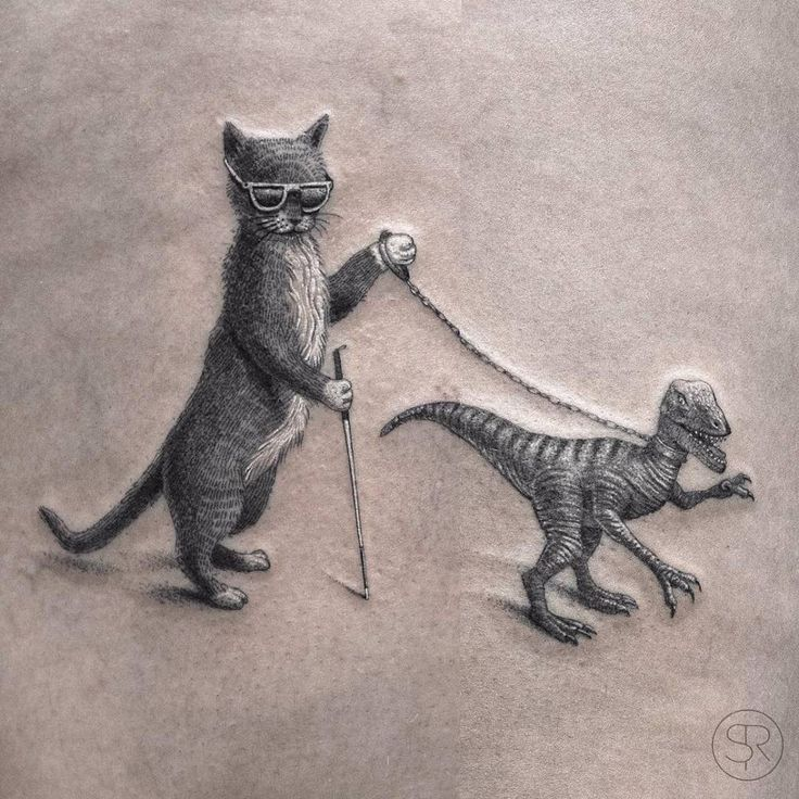 A blind cat walking his guiding-velociraptor tattoo. Wraped around the leg a bit, so pasted two pictures together. Thanks, Annemie!