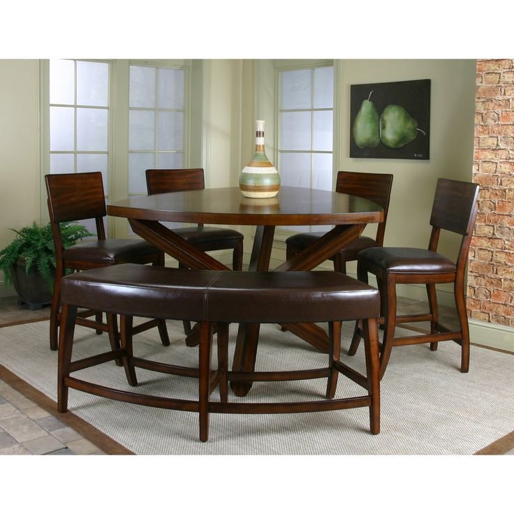 Comely 5pc Counter Height Dining Set With Lazy Susan In Dark Oak Finish
