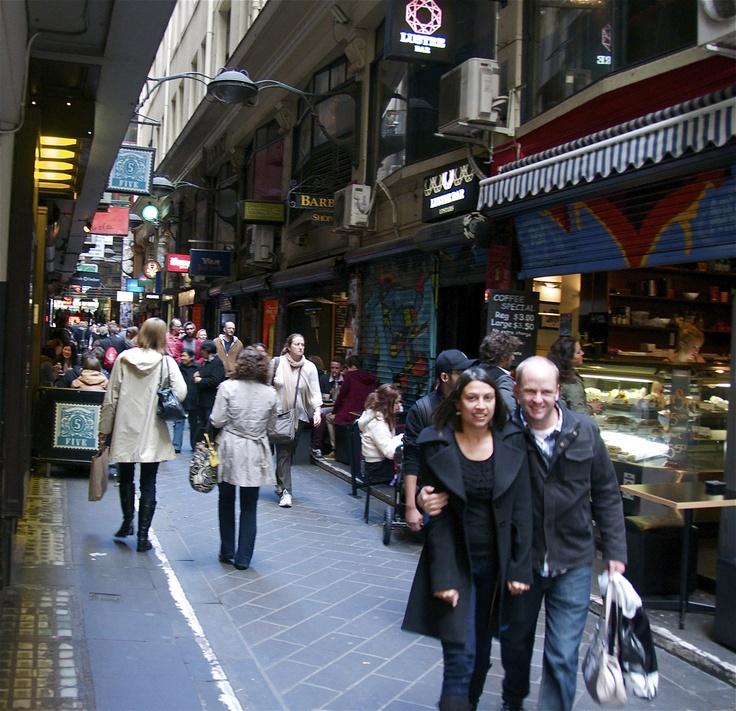Sunday shoppers along Melbourne's arcades and lane ways.