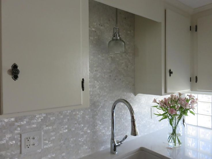 Beautifully Lustrous Kitchen Backsplash Using White Brick Groutless Mother  Of Pearl Tile. Https:/