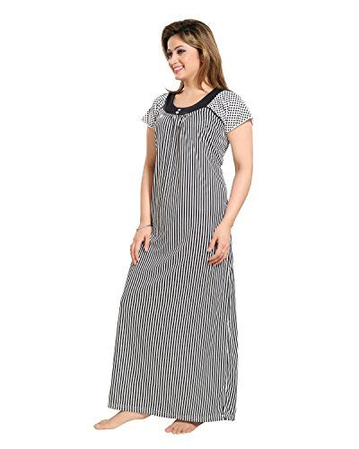 Tucute Women Beautiful Line print Nighty   Night Gown   Night Dress (Black)  (Free Size) D.No.1278  4f187fa7c