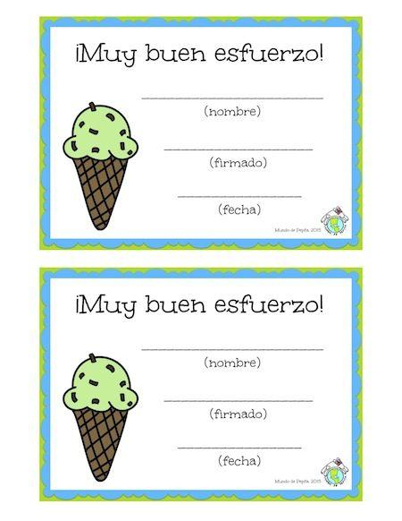 Free Spanish printables: certificates to recognize your students for their hard work! Mundo de Pepita, Resources for Teaching Spanish to Children http://elmundodepepita.blogspot.com/2015/05/super-cute-buen-esfuerzo-certificates.html