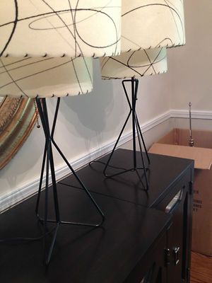 two tiered mid century lamps