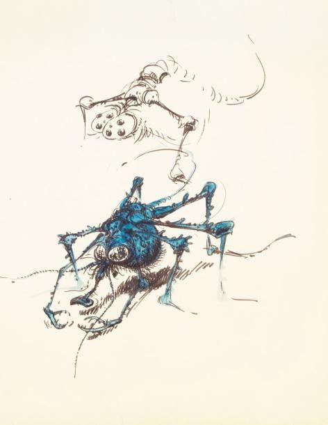 FRANQUIN. Dessin représentant un monstre ressemblant à une mouche. Encre de Chine et de couleur. 19,5 x 23 cm. - Millon & Associés - 12/03/2011