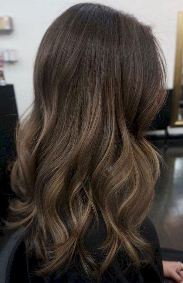 Light Brown Subtle Ombre On Dark Brunette Base Balayage Straight Hair Brown Hair Balayage Light Brown Hair