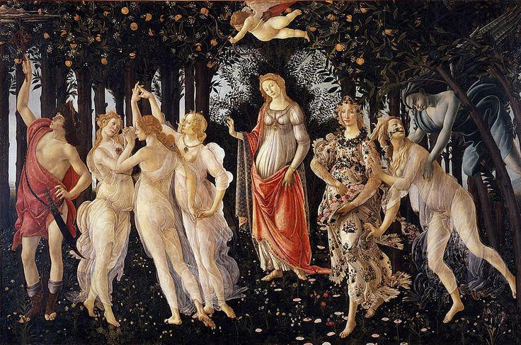 ALESSANDRO BOTTICELLI (1445-1510) Primavera, tempera na desce, 203x314 cm, 1477, Ufizi