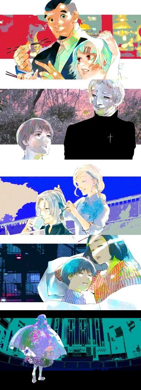 Shinohara, Suzuya, Amon, Donato, Kureo, Akira, Kaneki, and Eto ||| Tokyo Ghoul √A Ending 11