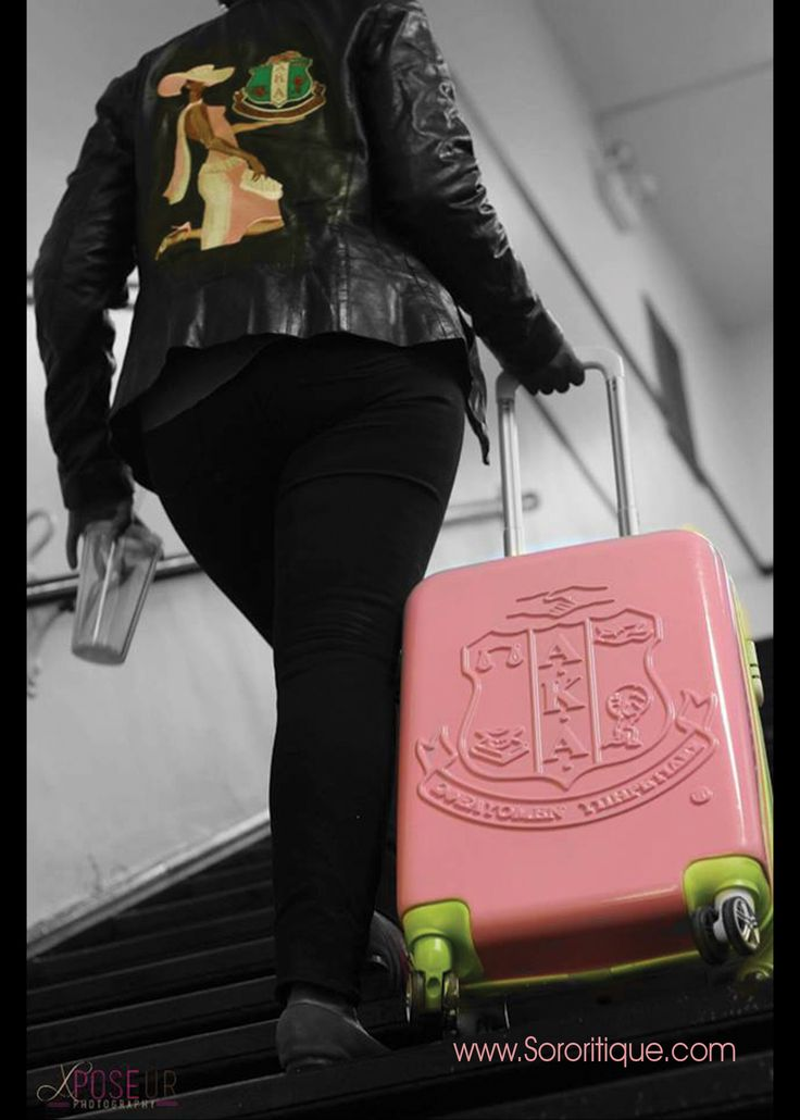 Pink & Green 26 inch trolley bag This hard box is drop & impact resistant, waterproof, and wear-resisting made of Polycarbonate & ABS (acrylonitrile-butadiene-styrene).   The AKA Sorority Crest is molded into the front of the luggage for a custom 3 D effect only found at Sororitique. A secure front pocket holds essential accessories, and it has a comfortable retractable metal handle so you can carry it if needed. It also has a combination lock that is TSA approved.  #sororityluggage #aka…