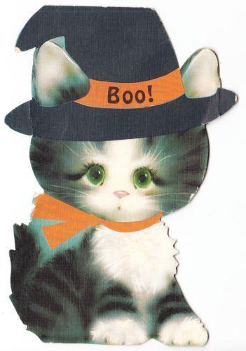 Vintage Die Cut Kitten in Witches Hat Halloween Hallmark Greeting Card | eBay