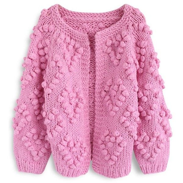 Chicwish Knit Your Love Cardigan in Hot Pink (195 BRL) ❤ liked on Polyvore featuring tops, cardigans, pink, knit cardigan, pink knit top, pink top, knit top and chicwish tops